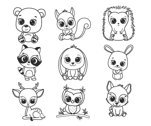 귀여운 만화 숲 동물의 컬렉션입니다. 색칠하기 책에 대한 흑백 벡터 일러스트 레이 션. 윤곽 그리기.