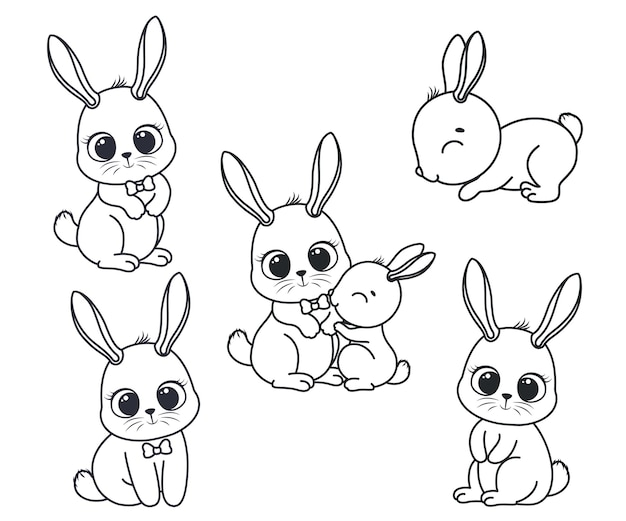 かわいい漫画のウサギのコレクション。塗り絵の黒と白のベクトルイラスト。輪郭の描画。