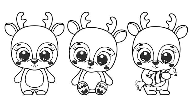 Коллекция милых мультяшных оленей. черно-белые векторные иллюстрации для раскраски. контурный рисунок.