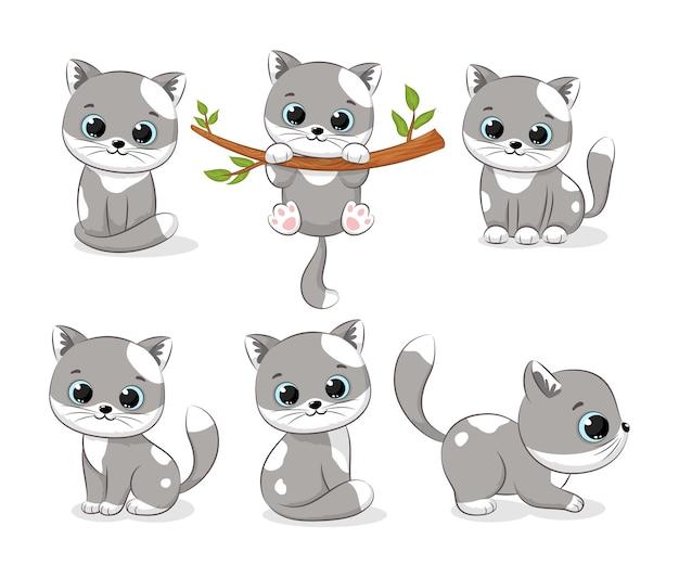 Коллекция симпатичных серых кошек. векторная иллюстрация мультфильма.