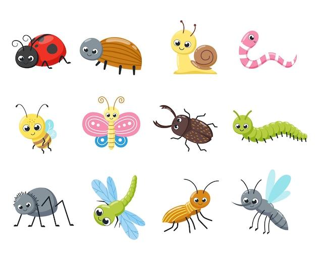 Коллекция симпатичных насекомых. забавные жуки, улитка, муха, пчела, божья коровка, паук, комар. векторные иллюстрации шаржа.