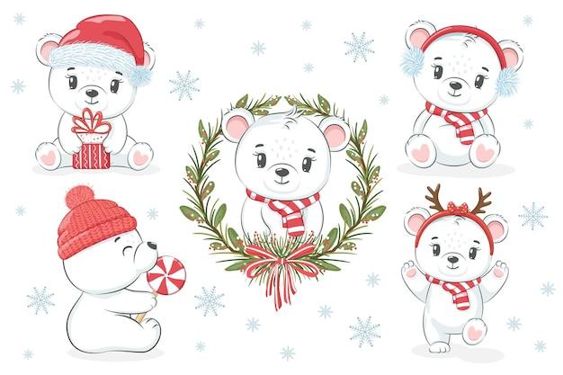 Коллекция симпатичных белых медведей на новый год и рождество. векторная иллюстрация мультфильма.