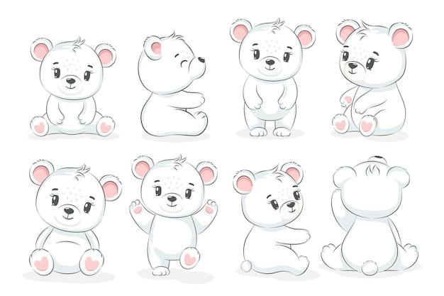 Коллекция симпатичных белых медведей. векторная иллюстрация мультфильма.