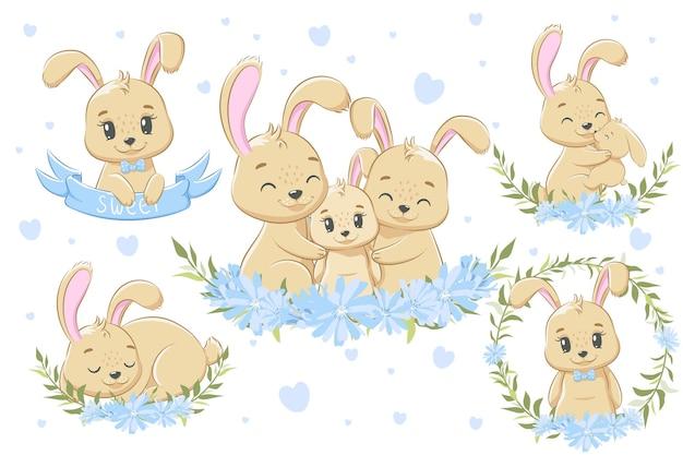 Коллекция милых кроличьих семей для мальчиков. векторная иллюстрация мультфильма.