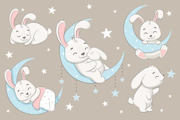 Коллекция симпатичных кроликов, спящих на луне, мечтающих и летающих во сне на облаках. векторная иллюстрация мультфильма.