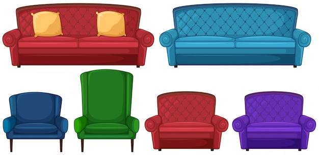 異なる椅子のコレクション