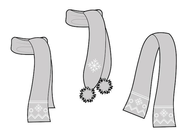 Коллекция разных видов шарфов. векторный рисунок. черное и белое.