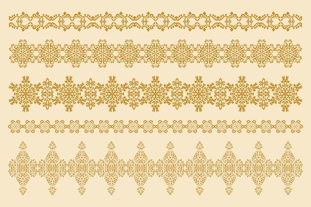 5つの水平装飾装飾品のコレクションアンティークスタイルのパターン化された境界線のセット