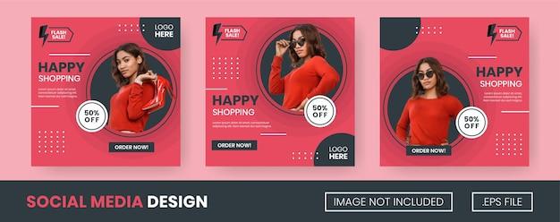 멤피스 스타일과 빨강 및 검정 색상이 포함된 플래시 판매 소셜 미디어 게시물 모음