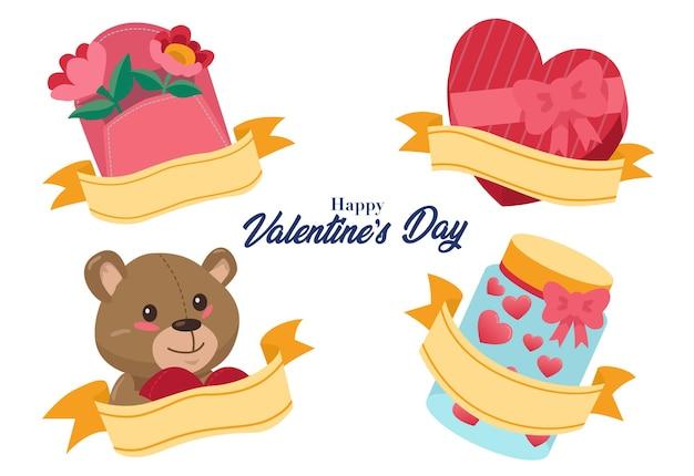 테디 베어, 꽃, 하트 모양의 초콜릿 등 발렌타인 데이에 자주 주어지는 선물 모음