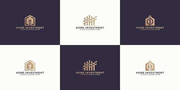 미래 주택 투자 디자인, 투자, 이익을 위한 영감을 주는 로고 모음