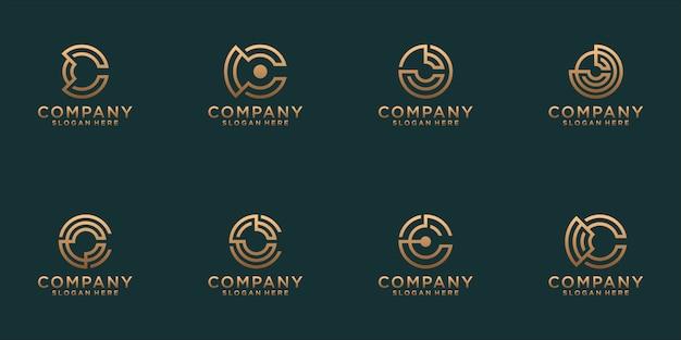 抽象的なゴールドカラーの文字cロゴデザインのコレクション。ビジネス向けのモダンなミニマリストフラット