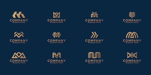 抽象的なゴールドカラーのレターmロゴデザインのコレクション。ビジネス向けのモダンなミニマリストフラット