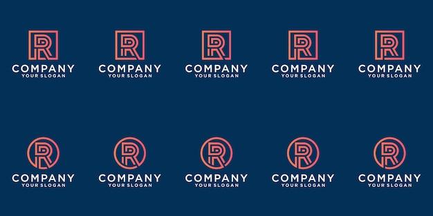 抽象的な金色の文字rロゴデザインのコレクション。ビジネスのためのモダンなミニマリストフラット