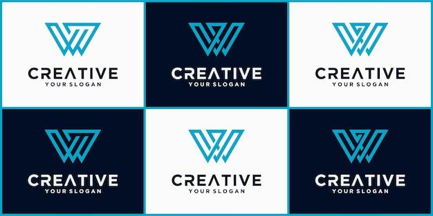 Коллекция элементов шаблона дизайна значка логотипа letter w, логотип w с синей минималистской концепцией