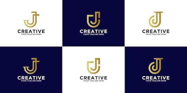 Коллекция логотипов с инициалами буквой j для консультирования по вопросам финансов и технологий для бизнеса.