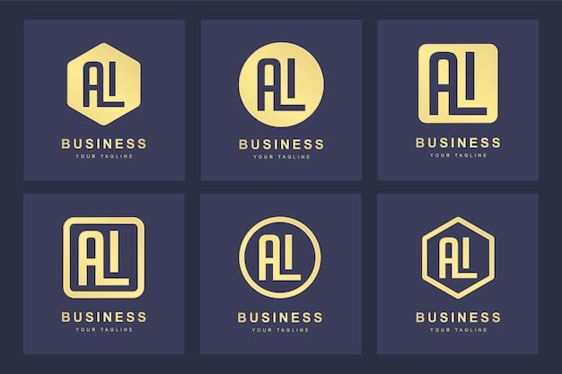 Коллекция логотипов с инициалами буквы al al gold в нескольких версиях