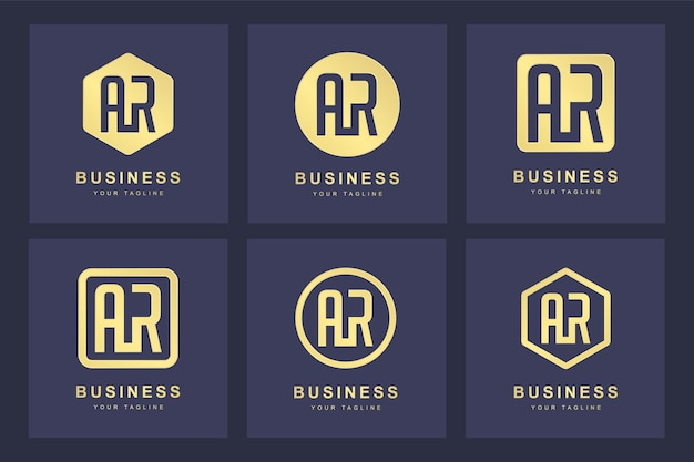 Коллекция логотипов с инициалами буквы ar ar gold в нескольких версиях
