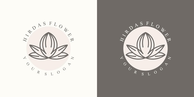 モダンでブランディングするための豪華なミニマリストのナチュラルフローラルロゴのコレクション
