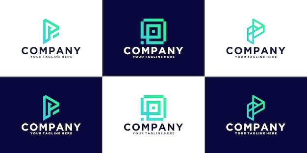 Коллекция современного абстрактного логотипа дизайна инициалов буквы p для бизнеса и технологий
