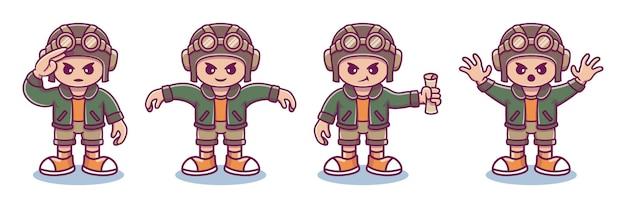 さまざまなかわいいポーズのパイロットキャラクターのコレクション