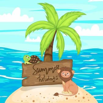 여름 아이템 모음입니다. 만화 스타일입니다. 벡터 일러스트 레이 션.