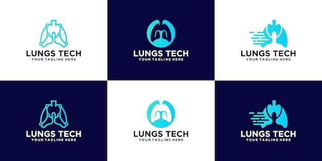健康およびテクノロジー企業向けのテクノロジー肺ロゴデザインのコレクション