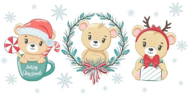 Сборник из трех милых мишек на новый год и на рождество. векторная иллюстрация мультфильма. счастливого рождества.