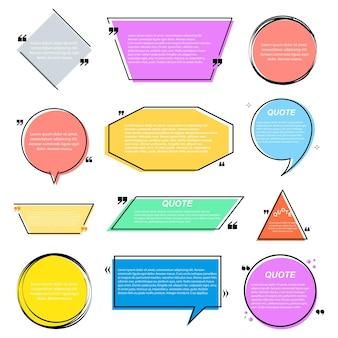 색상 거품은 견적 템플릿 또는 텍스트 상자 필드입니다. 참고, 인용 괄호 메시지, 빈 프레임, 만화용 스티커를 인용하십시오. 텍스트 상자. 벡터 일러스트 레이 션.