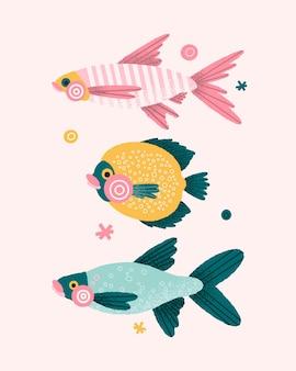 手描きの魚のイラストのカラフルなセット