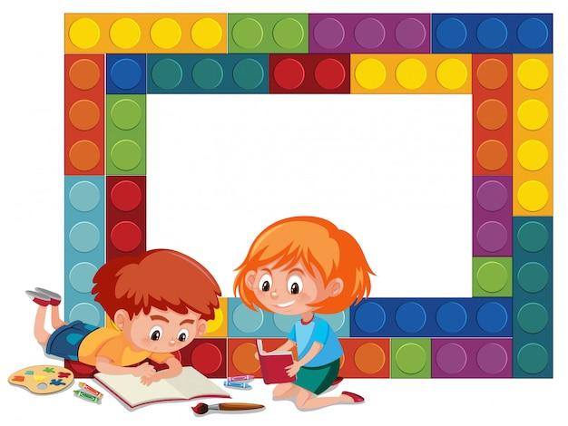 Красочная кирпичная рамка с детьми Premium векторы