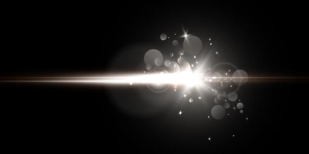 Комета, холодное сияние яркого белого света с лучами и бликами.