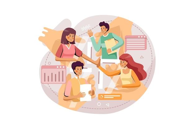 회사는 비즈니스 일러스트레이션 개념을 논의하기 위해 온라인 회의를 사용합니다.