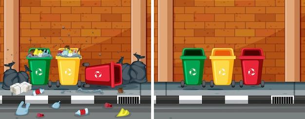 清潔で汚い通りの比較