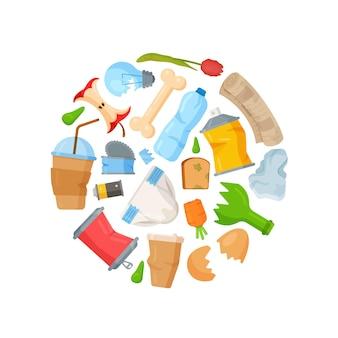 Концепция уборки мусора. иллюстрация разбитых бутылок, разбитых вещей, отходов. сбор пней, погнутых банок и т. д.