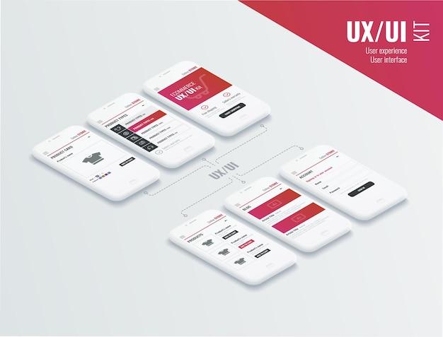 모바일 앱 페이지가 있는 개념적 휴대폰 전자상거래의 사용자 경험 사용자 인터페이스 모바일 앱용 웹사이트 와이어프레임