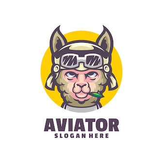 하늘을 나는 라마의 멋진 로고, 이 로고는 항공 활동과 관련된 기업에 적합합니다.