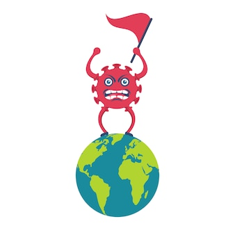 コロナウイルス風刺画は、旗を手に惑星に立っています。