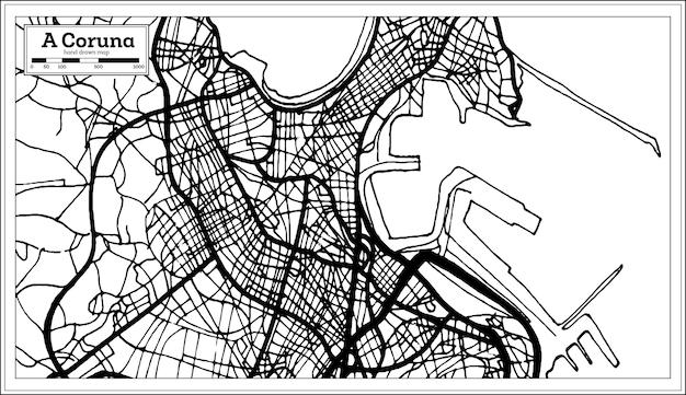 복고 스타일의 코루나 스페인 도시 지도. 개요 지도. 벡터 일러스트 레이 션.