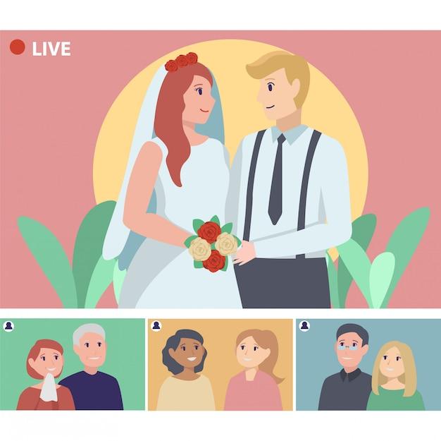 親戚とのビデオ通話でオンライン結婚式をしているカップル