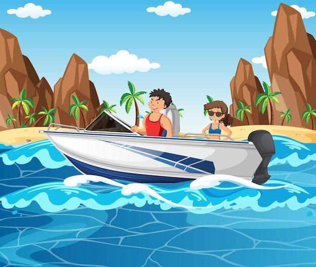 해변 장면에서 스피드 보트를 운전하는 부부