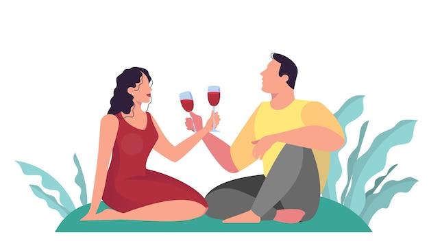 공원에서 데이트하는 커플, 낭만적 인 피크닉. 남자와여자가 마시는 와인. 프리미엄 벡터