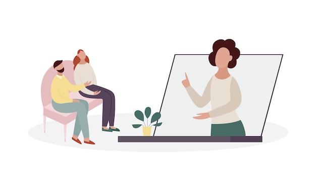 コンピューターの画面または電話でコンサルタントの心理学者との治療セッション中のカップル。オンライン心理的ヘルプの概念。白い背景に分離