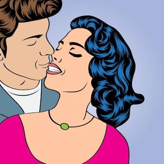 愛のカップル、漫画スタイル