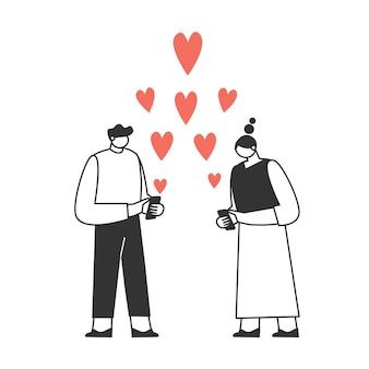 전화로 서로 문자를 보내는 사랑에 빠진 커플. 캐릭터는 발렌타인 데이를 축하합니다. 사랑과 로맨스 개념.