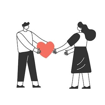 사랑에 빠진 커플. 캐릭터는 발렌타인 데이를 축하합니다. 사랑과 로맨스 개념.