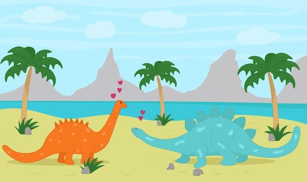 Парочка влюбленных динозавров на острове.