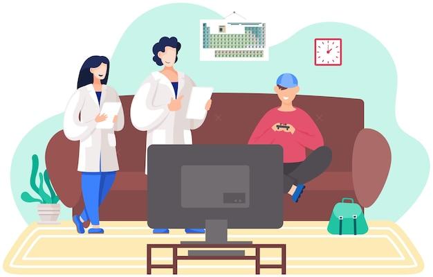 Пара врачей консультируют пациента у него дома