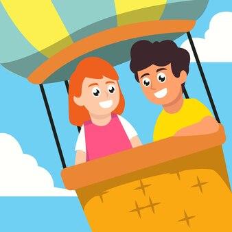 世界の子供の日のイラストの子供たちのカップル