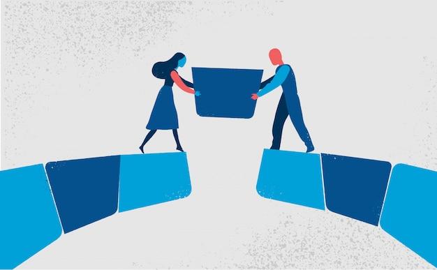 Пара мужчин и женщин вставляет недостающую часть, чтобы соединить мост